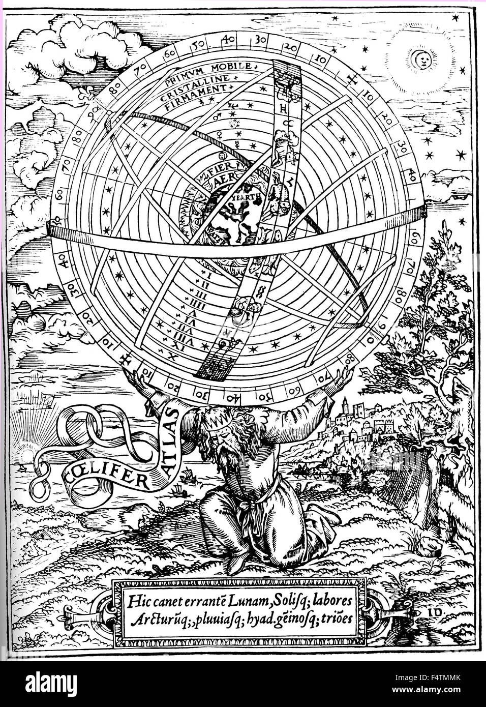 PTOLEMAIC UNIVERSE Woodcut from William Cunningham's 'Cosmological Glasse' published in London in 1559 - Stock Image