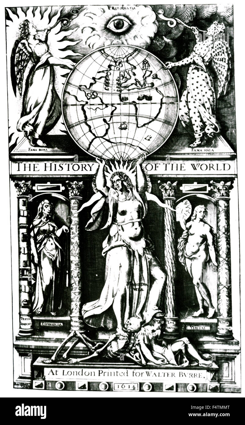 HISTORY OF THE WORLD by Sir Walter Raleigh. Title page of his 1614 book showing Atlas holding up the globe. - Stock Image