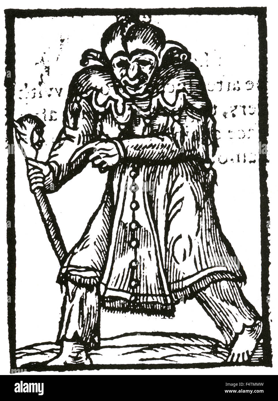 WITCHCRAFT Woodcut of a witch from the 1593 pamphlet 'A Most Wicked Worke of a Wretched Witch...' ascribed - Stock Image