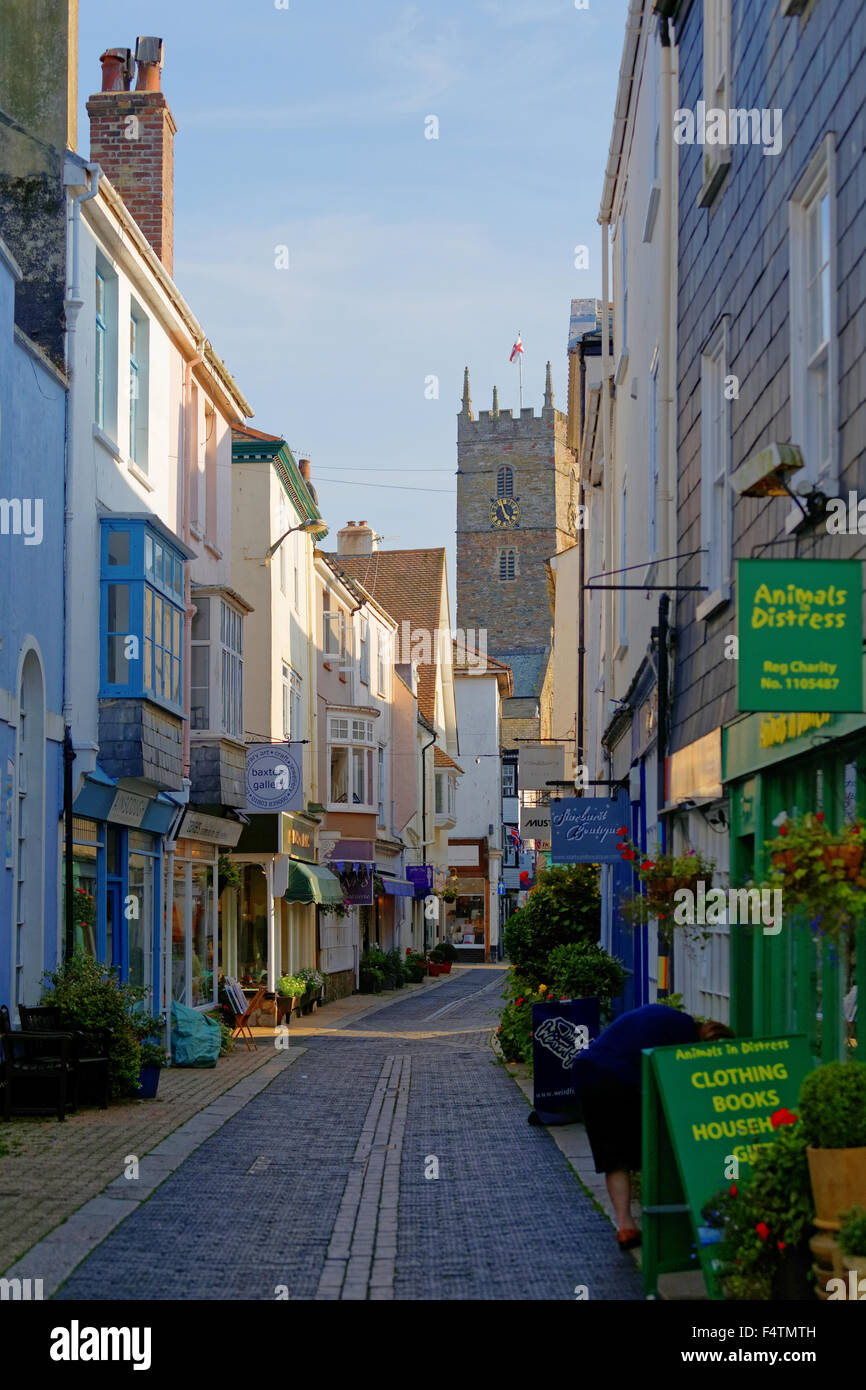 Foss Street in the Town Centre of Dartmouth Devon Stock Photo