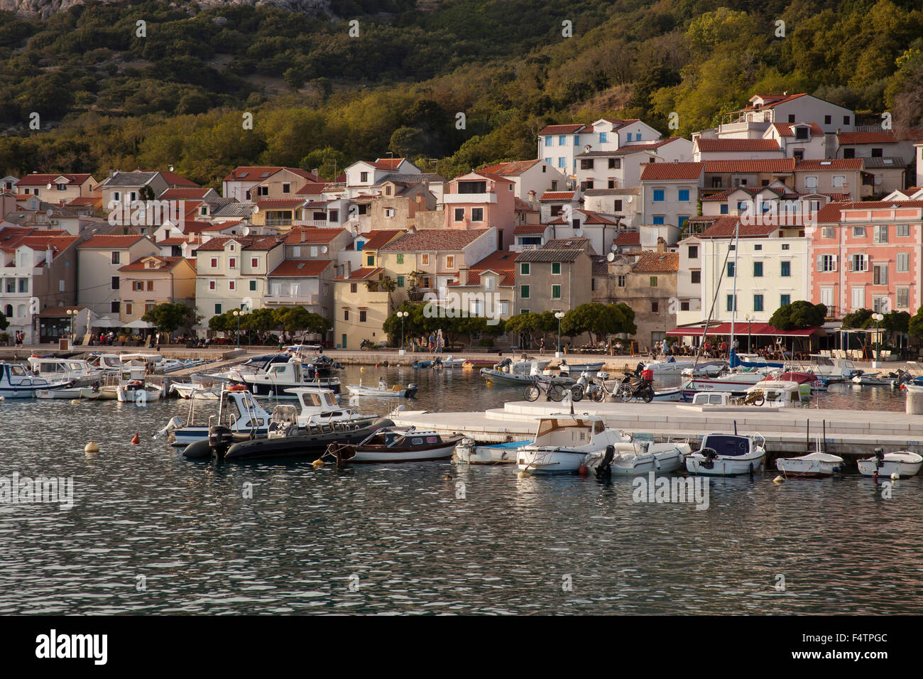 Bay and the harbour of Baska, Krk, Kvarner bay Adria, Croatia, - Stock Image