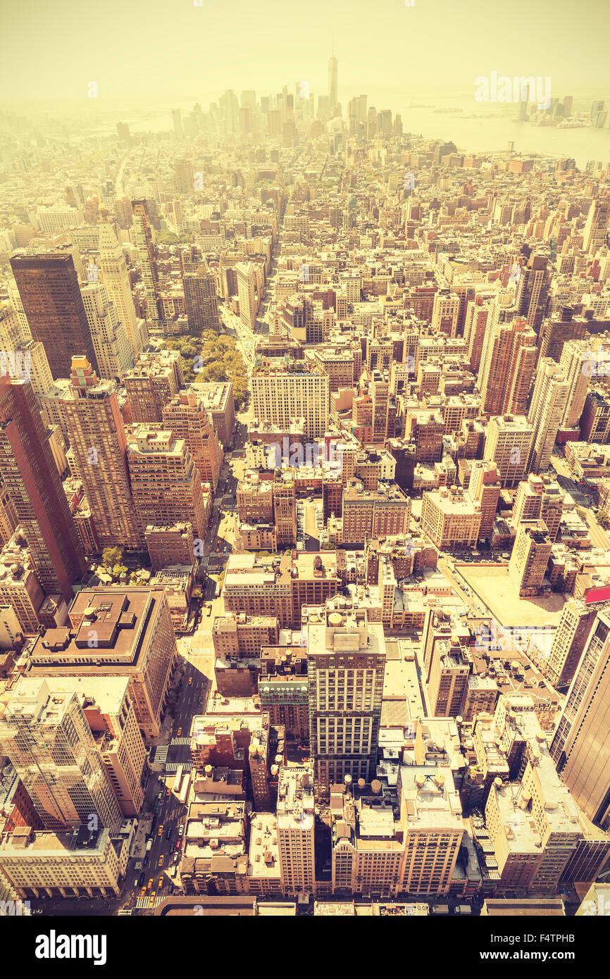 Retro toned aerial view of Manhattan, New York City, USA. - Stock Image
