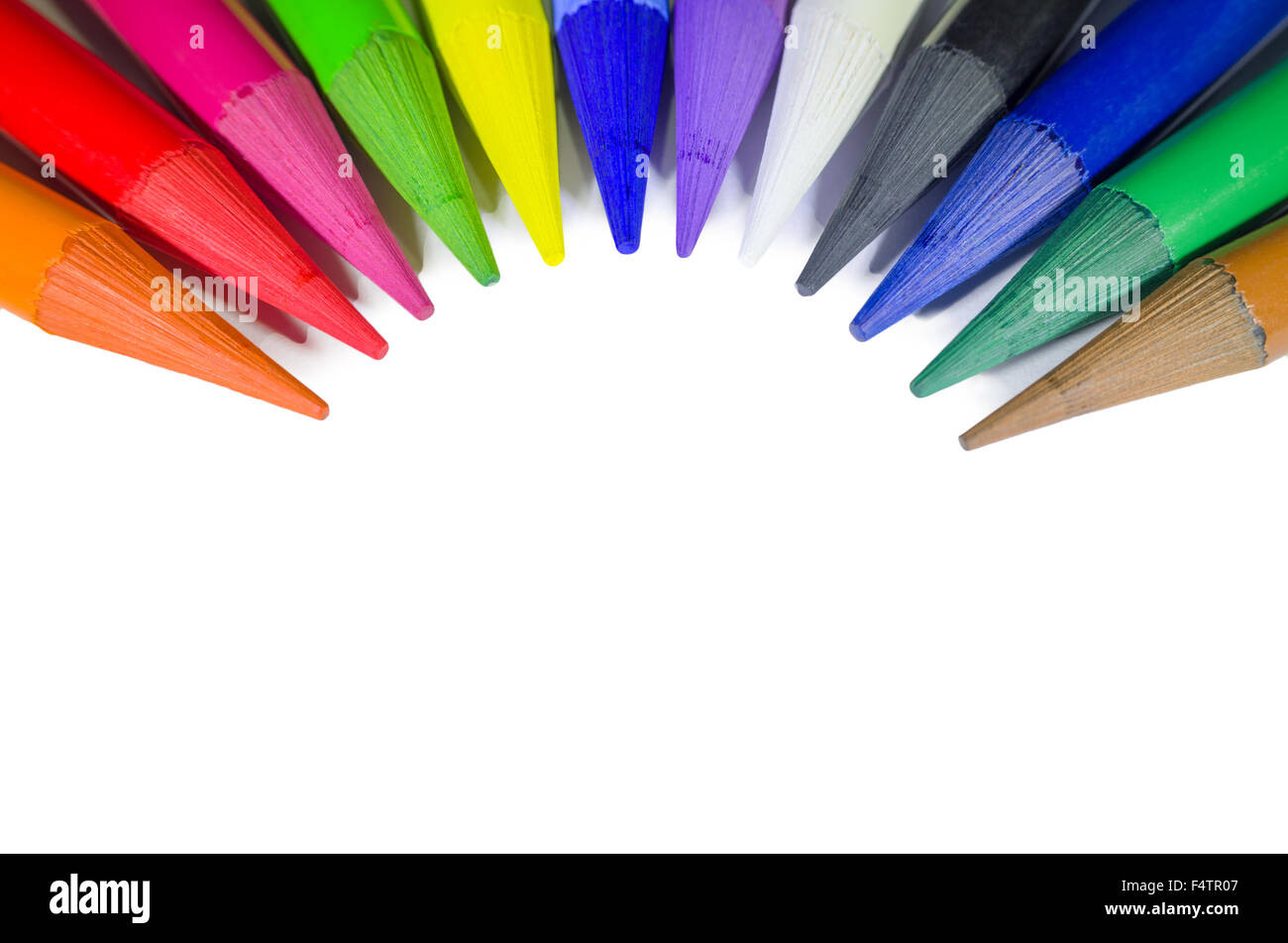 Woodless Colored Pencil Heads in Semicircle Macro Closeup Isolated on White Background - Stock Image