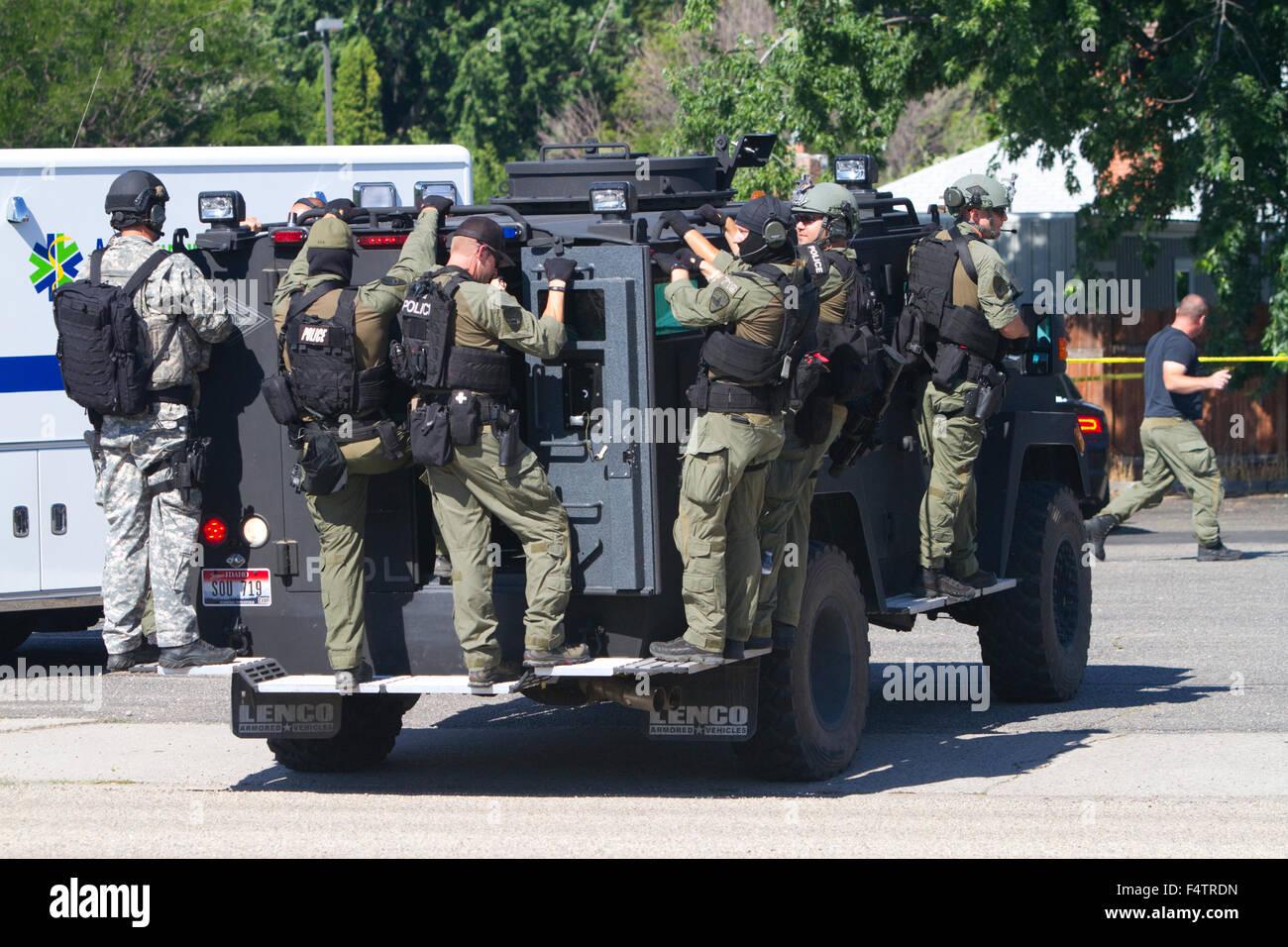 SWAT team in Boise, Idaho, USA. - Stock Image