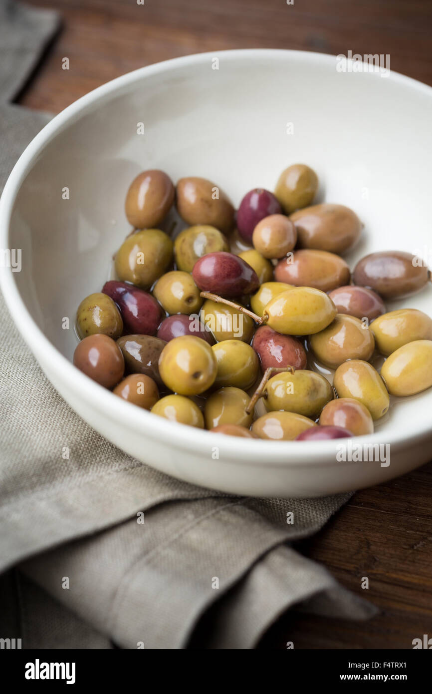 Taggiasche olives from Liguria region of italy - Stock Image