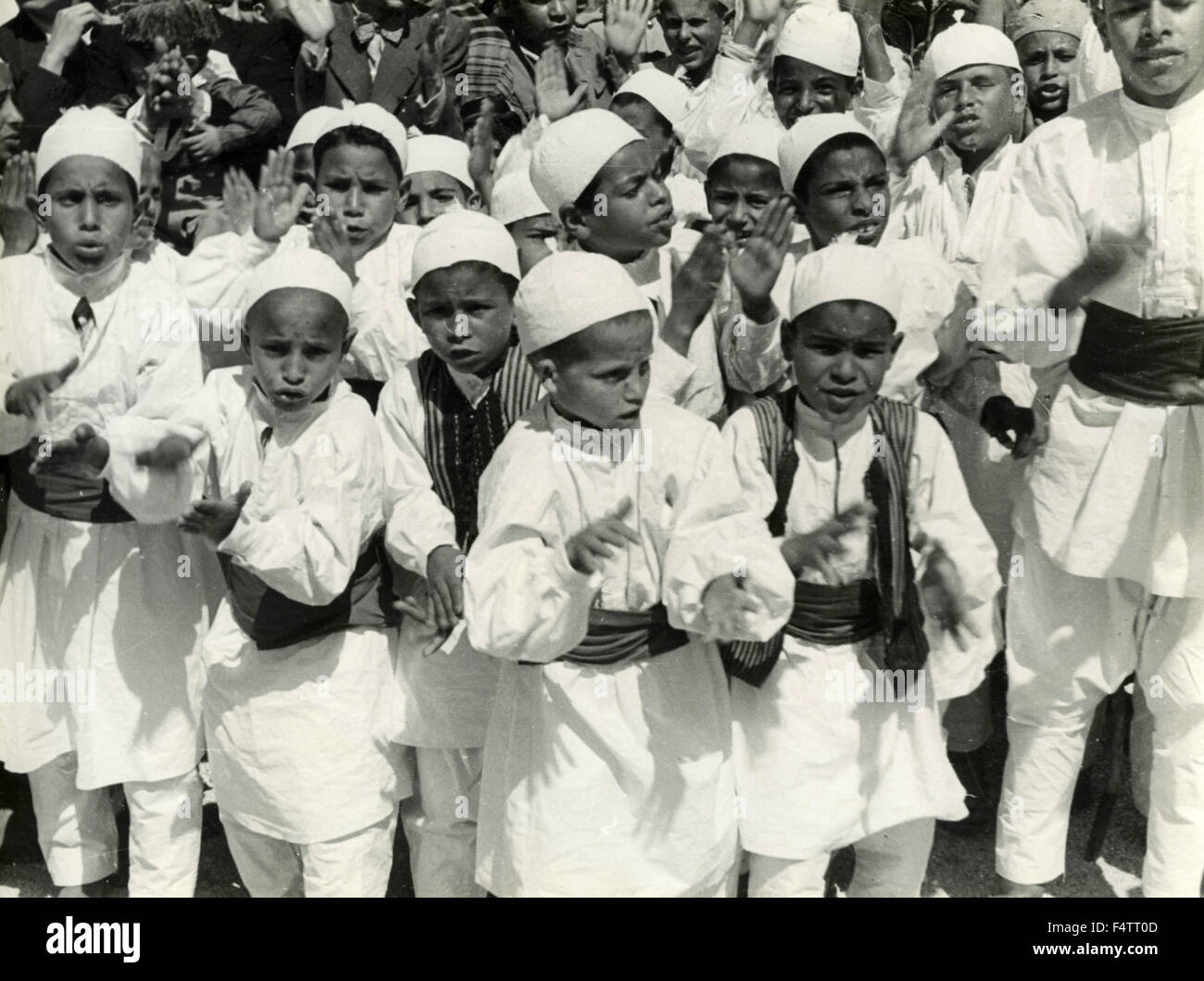 A large group of North African children - Stock Image
