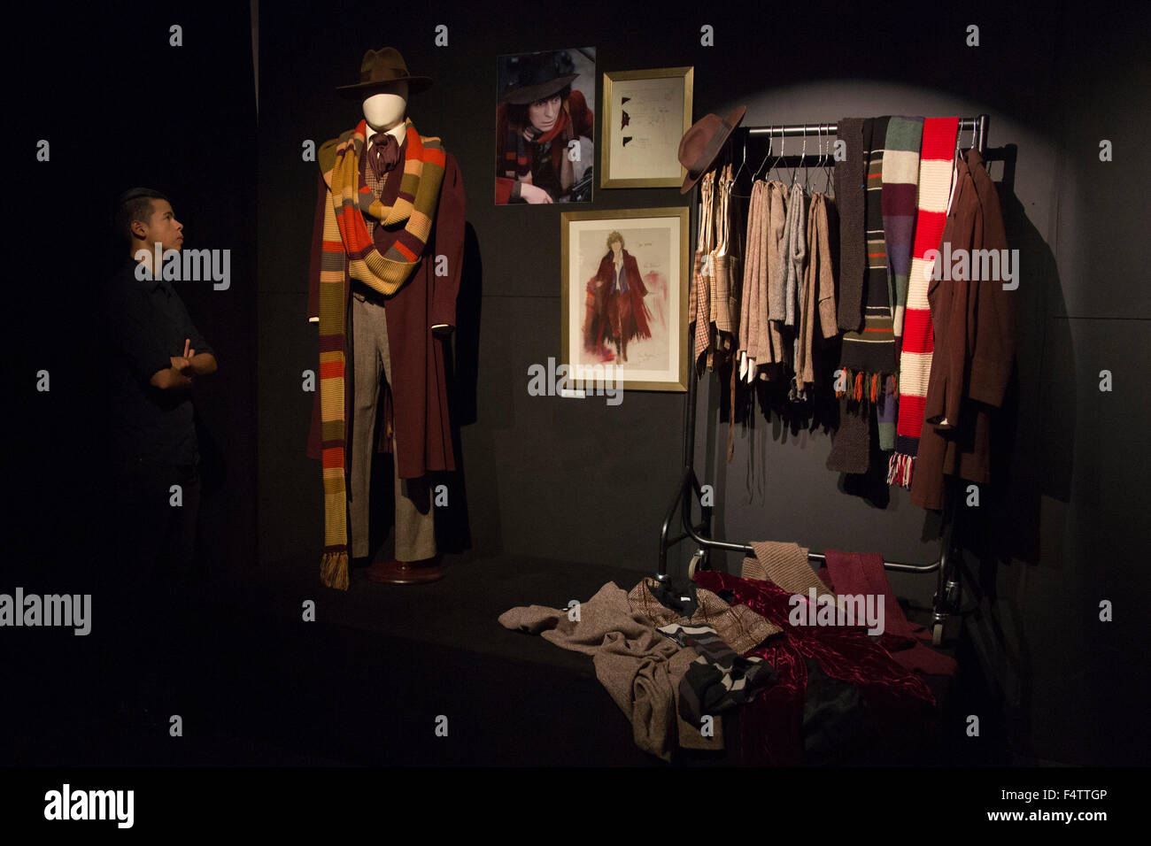 London, UK. 22/10/2015. Costumes for the 4th doctor Tom Baker, Doctor Who. Costumes from the exhibition Dressed - Stock Image