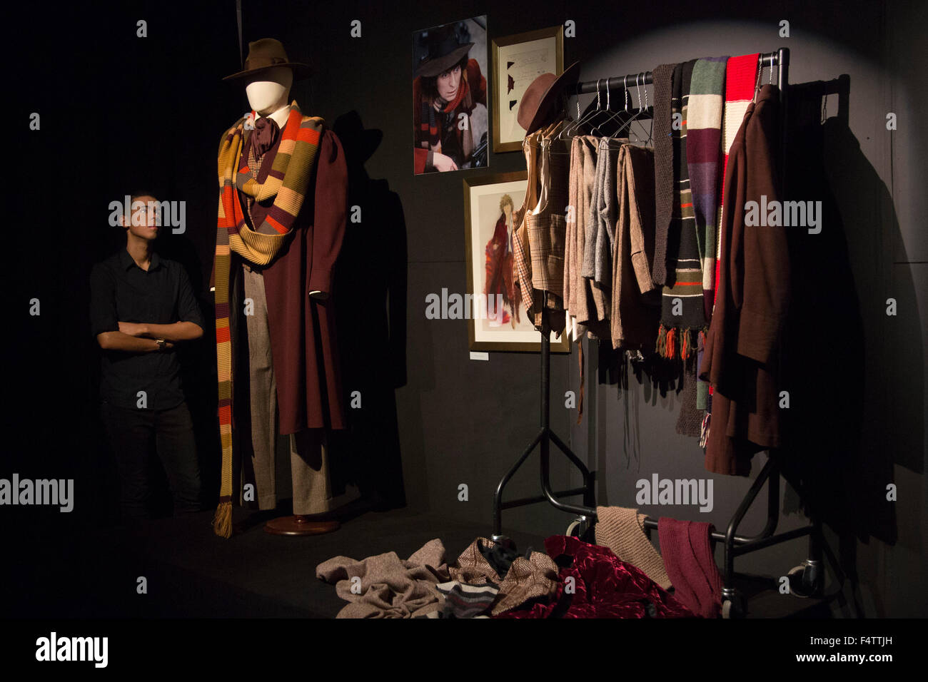 Costumes worn by the 4th doctor Tom Baker Doctor Who. Costumes from the exhibition Dressed by Angels 175 years of costumes from costume house Angels. & London UK. 22/10/2015. Costumes worn by the 4th doctor Tom Baker ...