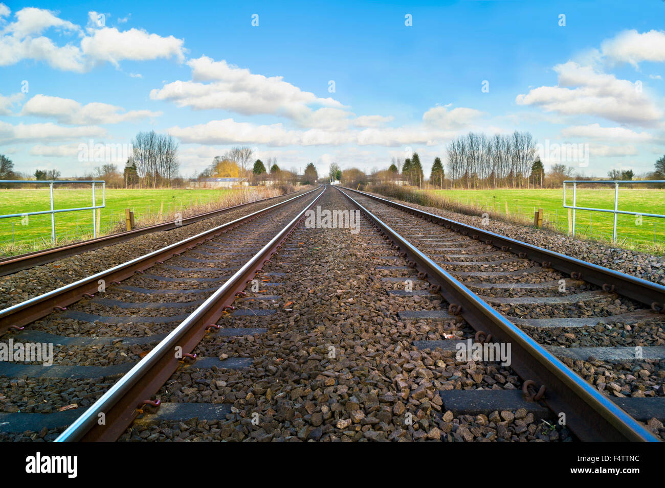 Train line and Sign - Stock Image