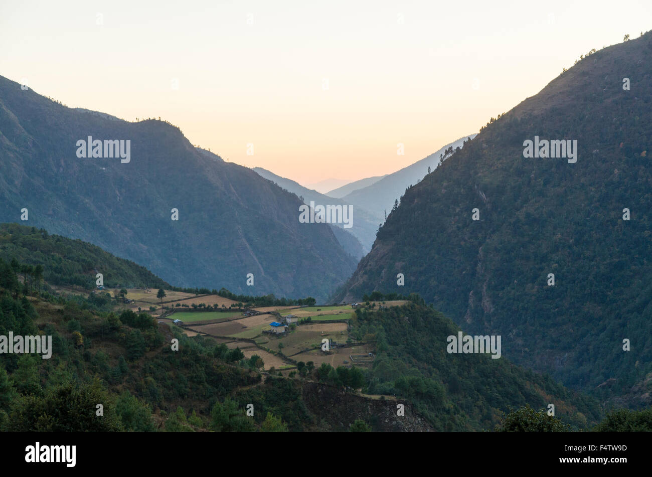The Dudh Koshi River Valley leading out from Namche Bazar (3.440 m), the base for trekking and mountaineering in - Stock Image