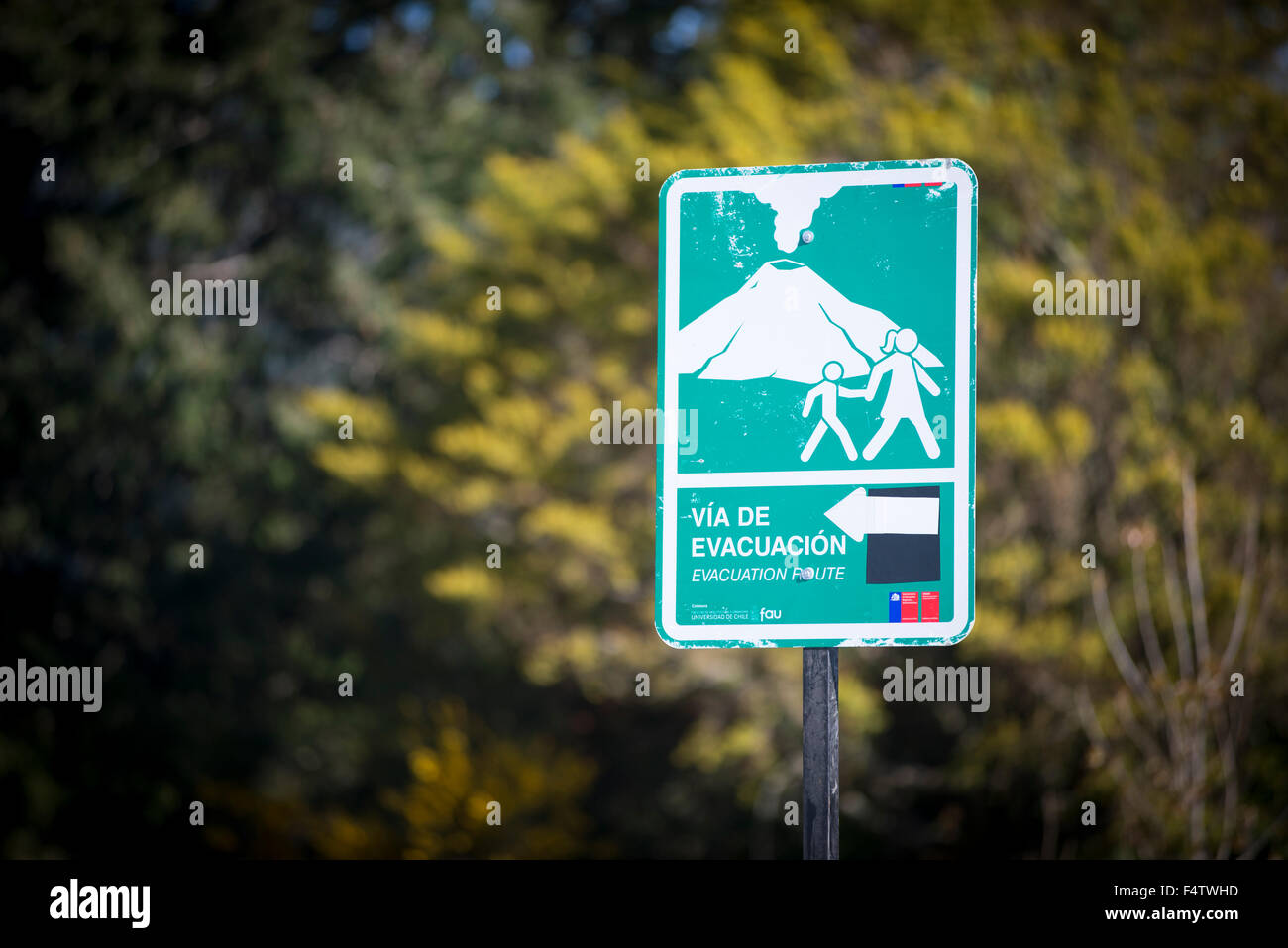 evacuation, information, volcano activity.  Region de los Lagos. Stock Photo
