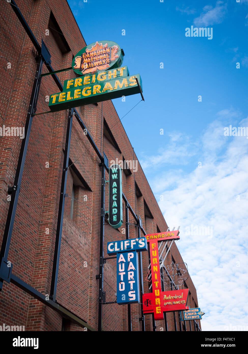 The outdoor Neon Sign Museum in Edmonton, Alberta, Canada. - Stock Image