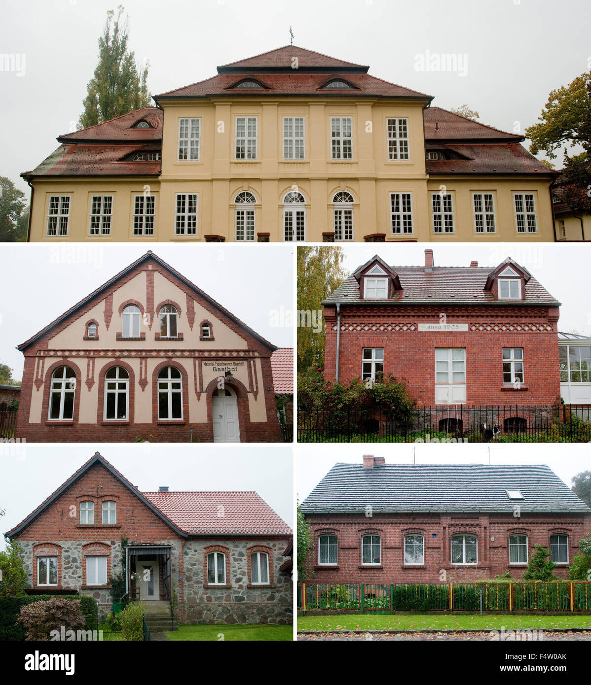 Sauen, Germany. 20th Oct, 2015. COMBO - A composite picture of five individual pictures shows the fronts of historical - Stock Image
