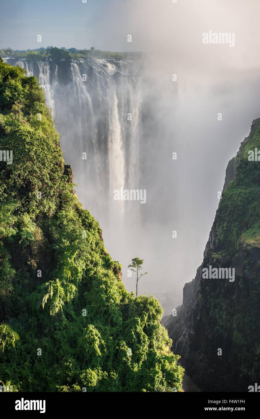 VICTORIA FALLS, ZIMBABWE , AFRICA - Victoria Falls (Mosi-oa-Tunya) , Worlds largest waterfall , on the Zambezi River - Stock Image