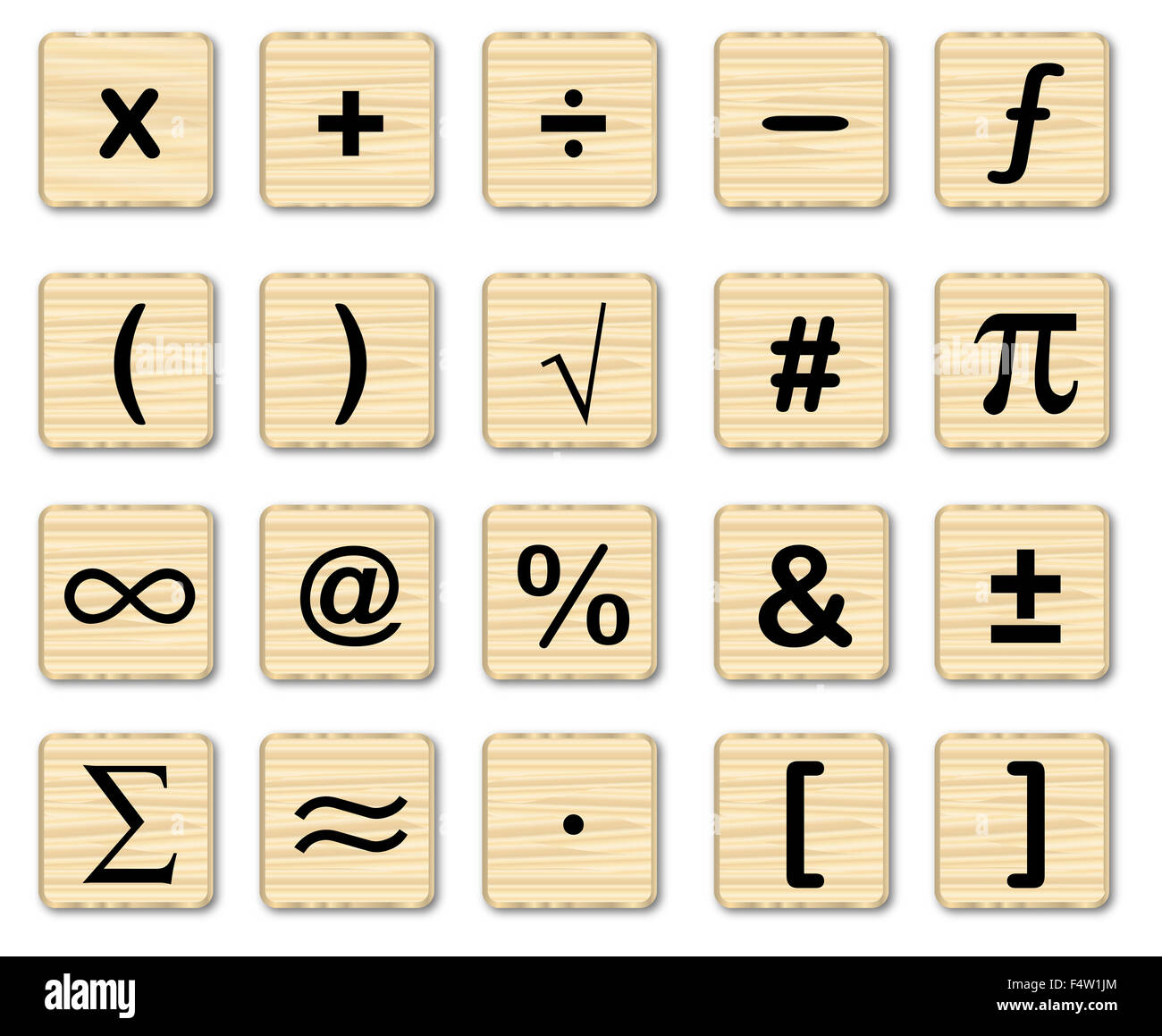 A set of math symbols on wooden squares over a white background ...