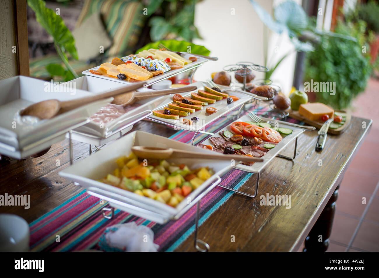 Kasane, Botswana - Table with healthy snacks. - Stock Image