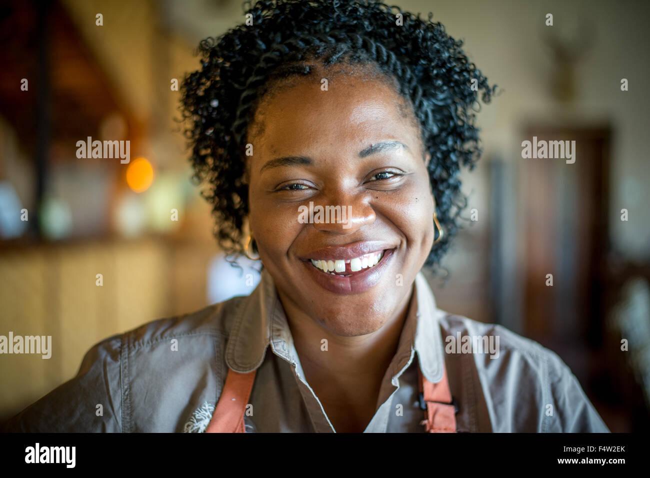 Kasane, Botswana - Smiling African woman. - Stock Image
