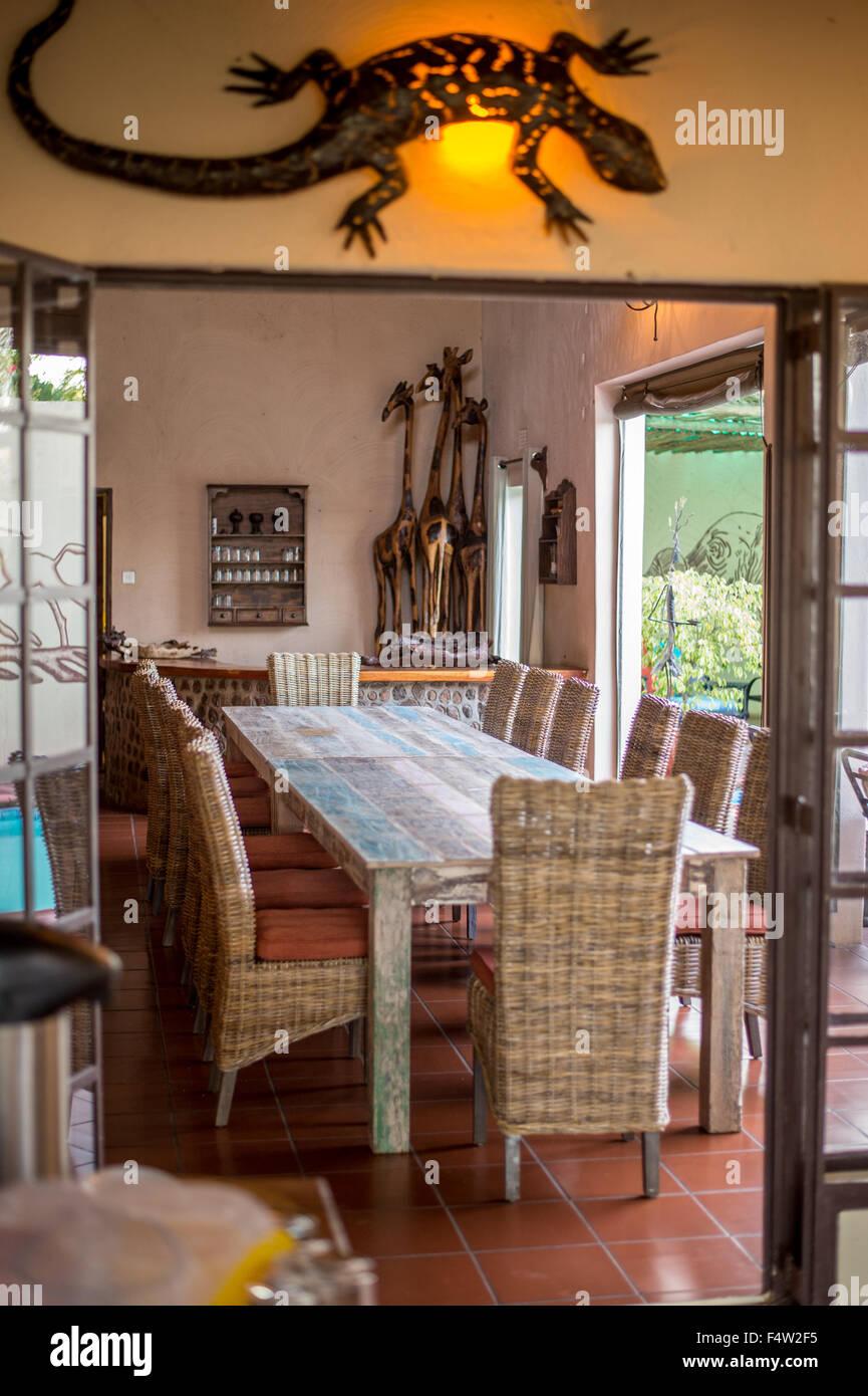 Kasane, Botswana - Large dinner table in dining room. - Stock Image