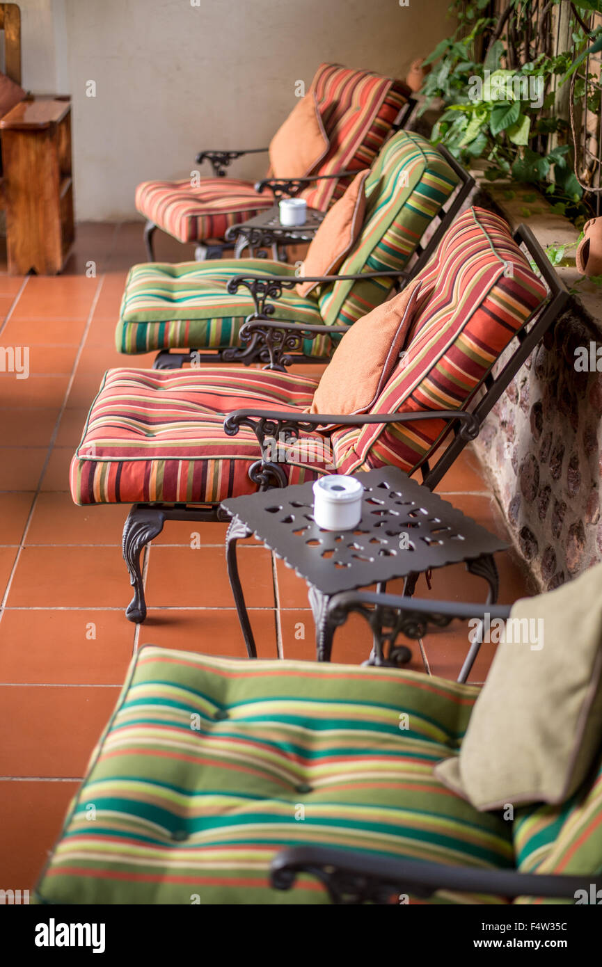 Kasane, Botswana -  Decorative outdoor lounge chairs. - Stock Image