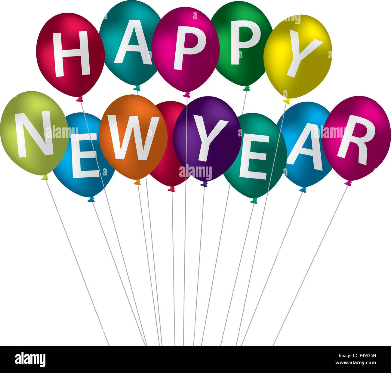 happy new year balloon card in vector format