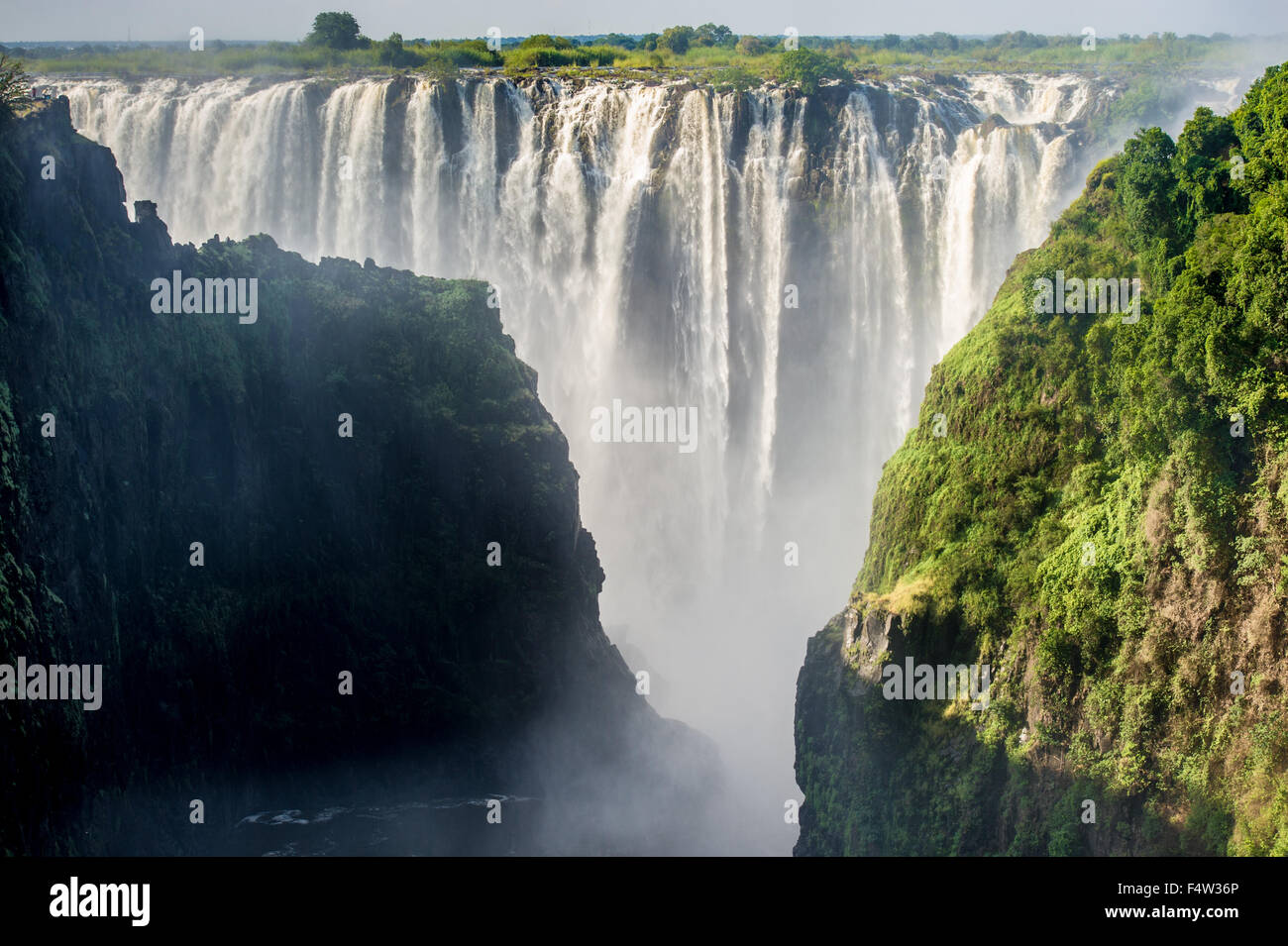 LIVINGSTONE, ZAMBIA, AFRICA - Victoria Falls (Mosi-oa-Tunya) , Worlds largest waterfall , on the Zambezi River - Stock Image