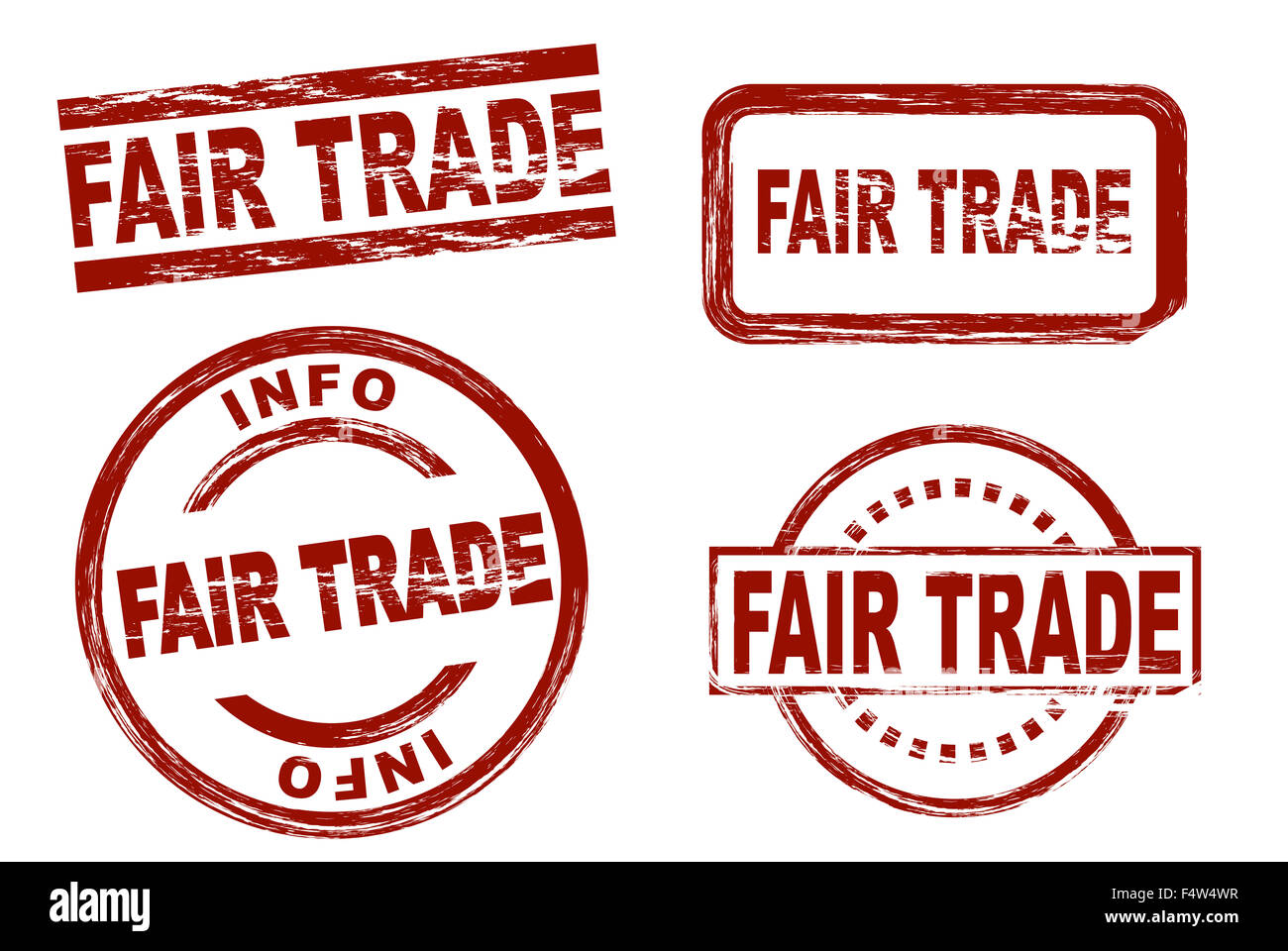 Set of stylized red stamps showing the term fair trade. All on white background. - Stock Image