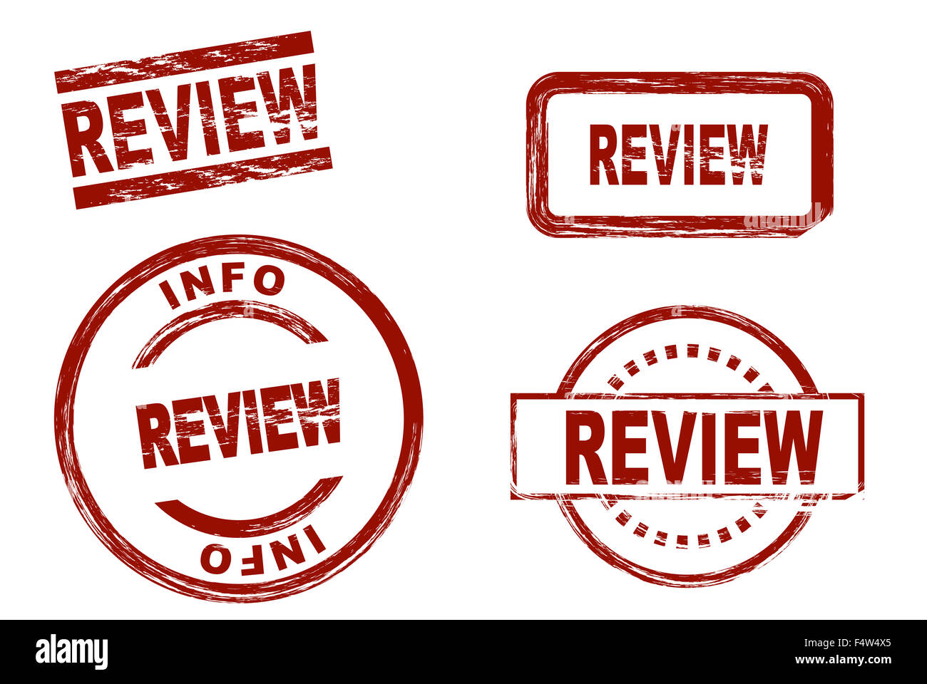 Set of stylized red stamps showing the term review. All on white background. - Stock Image