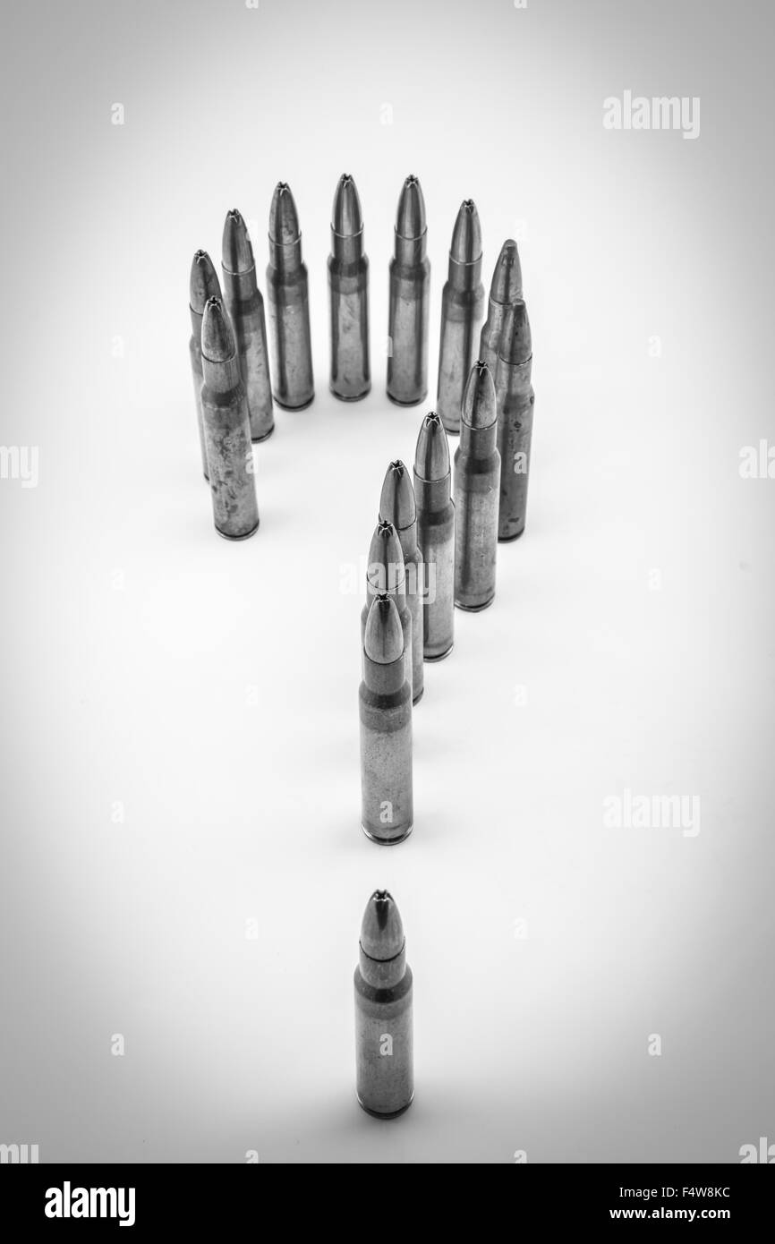 composition with bullets positioned as a question mark - Stock Image