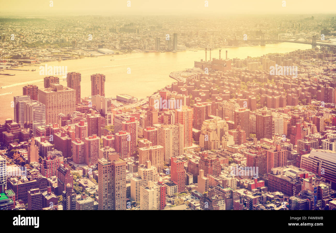 Retro toned aerial view of New York City, USA. - Stock Image