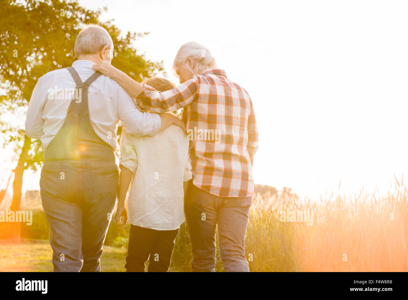 Affectionate grandparents and grandson walking along sunny rural wheat field Stock Photo