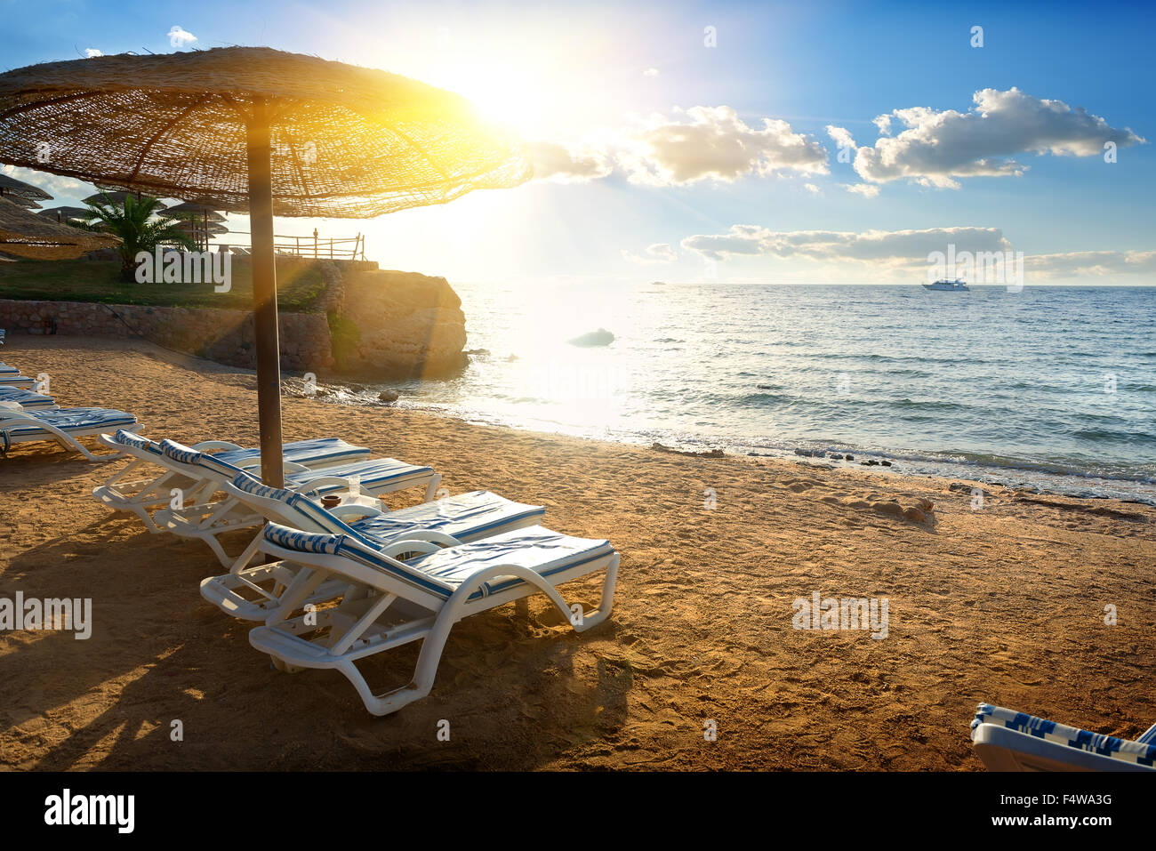 Chaise-longues on a beach of the Red sea - Stock Image