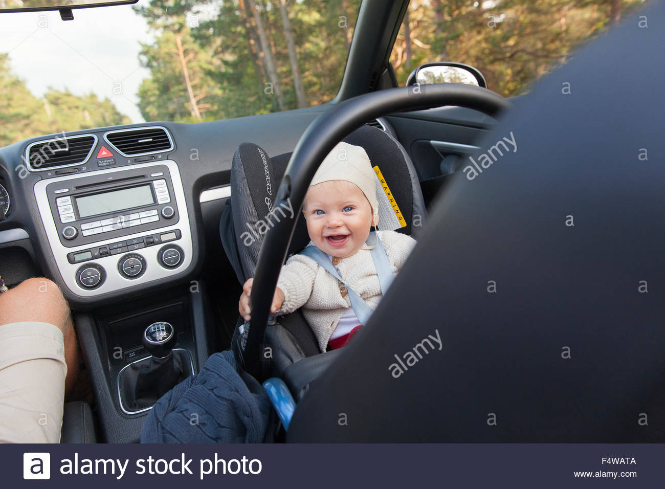 Sweden Gotland Baby 6 11 Months In Car Seat Next To Father Driving