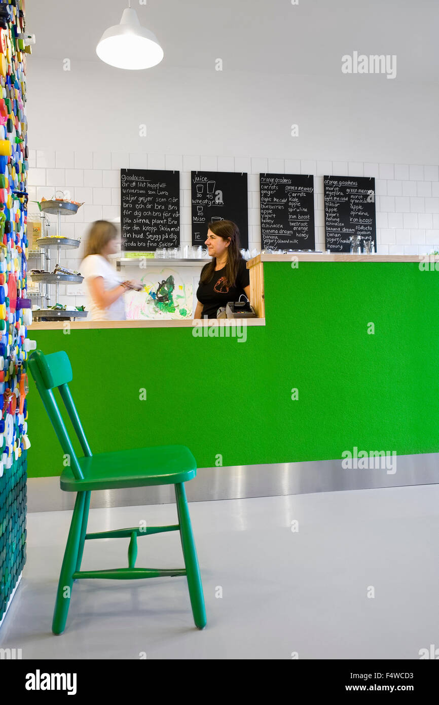 Sweden, Skane, Helsingborg, Woman and girl (12-13) in cafe - Stock Image
