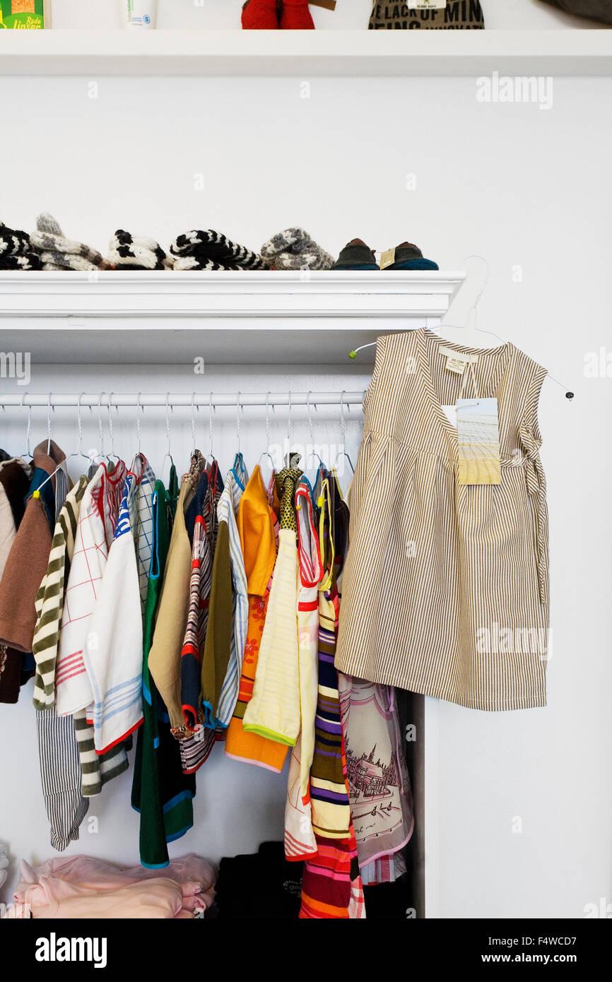 Sweden, Skane, Helsingborg, Variation of cloths in shop - Stock Image