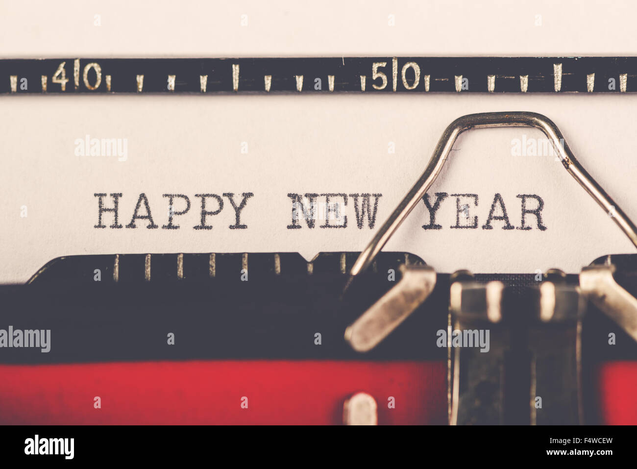 Happy New Year On Old Typewriter Machine Hipster Lifestyle Holiday