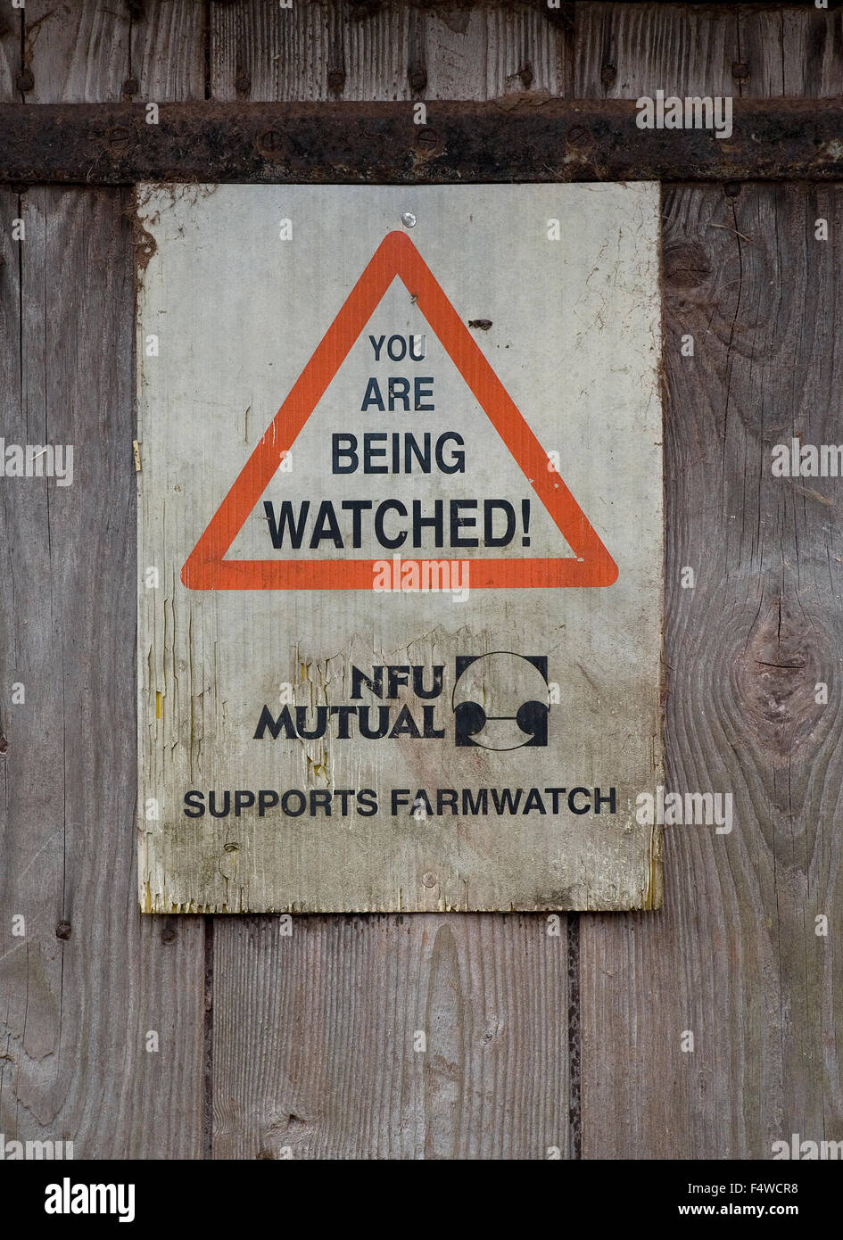 Farm security sign - Stock Image