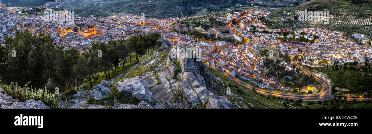 Panoramic view of Jaen city, Andalusia, Spain - Stock Image