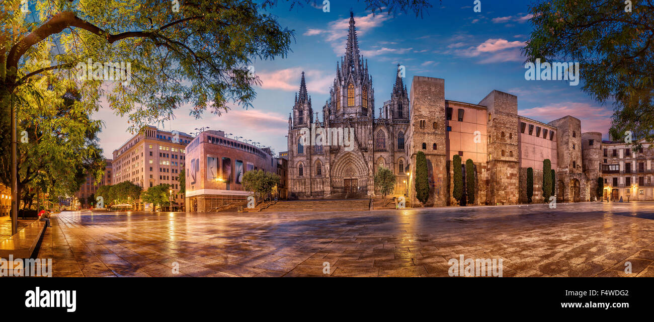 Cathedral of Barcelona, Catalonia, Spain - Stock Image