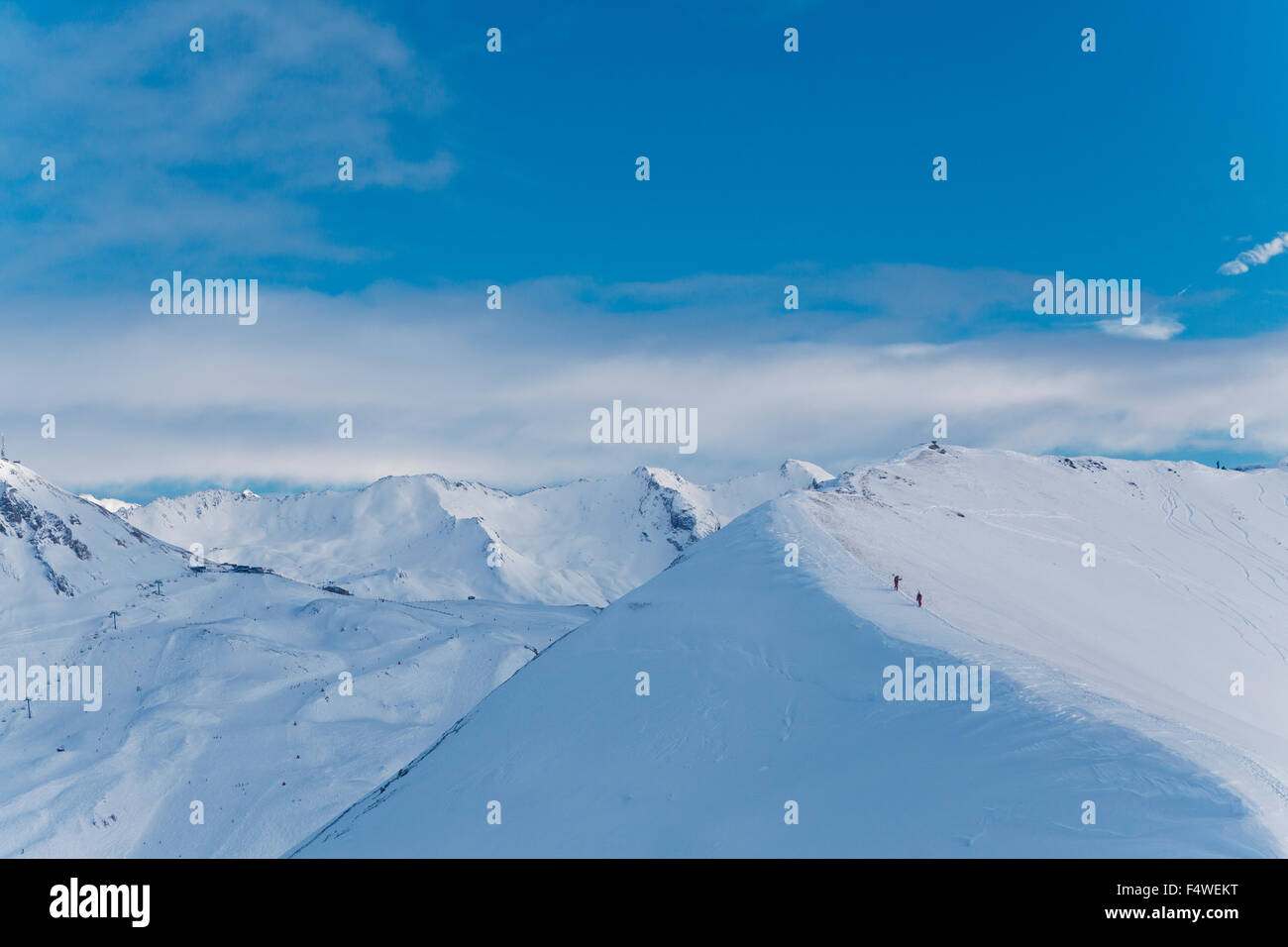 France, Rhône-Alpes, Savoie, Val D'Isere, Scenic view of snowcapped mountains Stock Photo