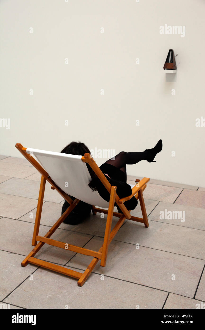 interactive installation by Marina Abramovic in the Fondation Louis Vu - Stock Image