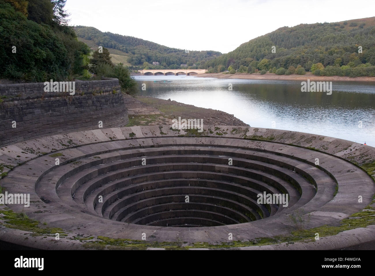 DERBYSHIRE UK - 06 Oct : Ladybower reservoir bellmouth overflow (or plug hole) on 06 Oct 2013 in the Peak District, - Stock Image