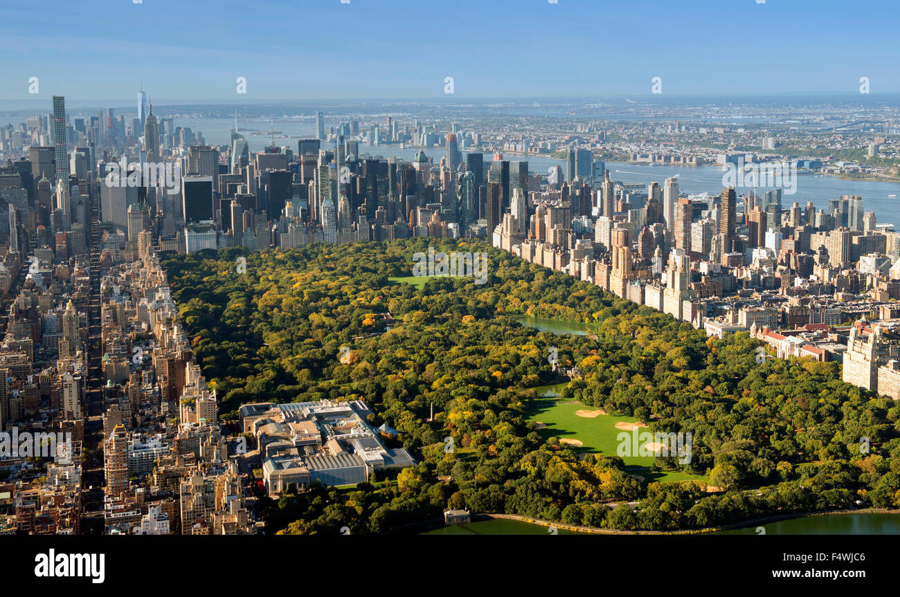 Aerial shot of Manhattan and Central Park from the Upper West Side East Harlem, New York USA - Stock Image