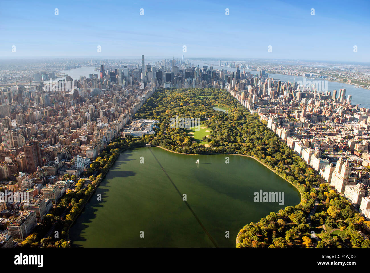 Aerial shot of Manhattan and Central Park, New York USA - Stock Image
