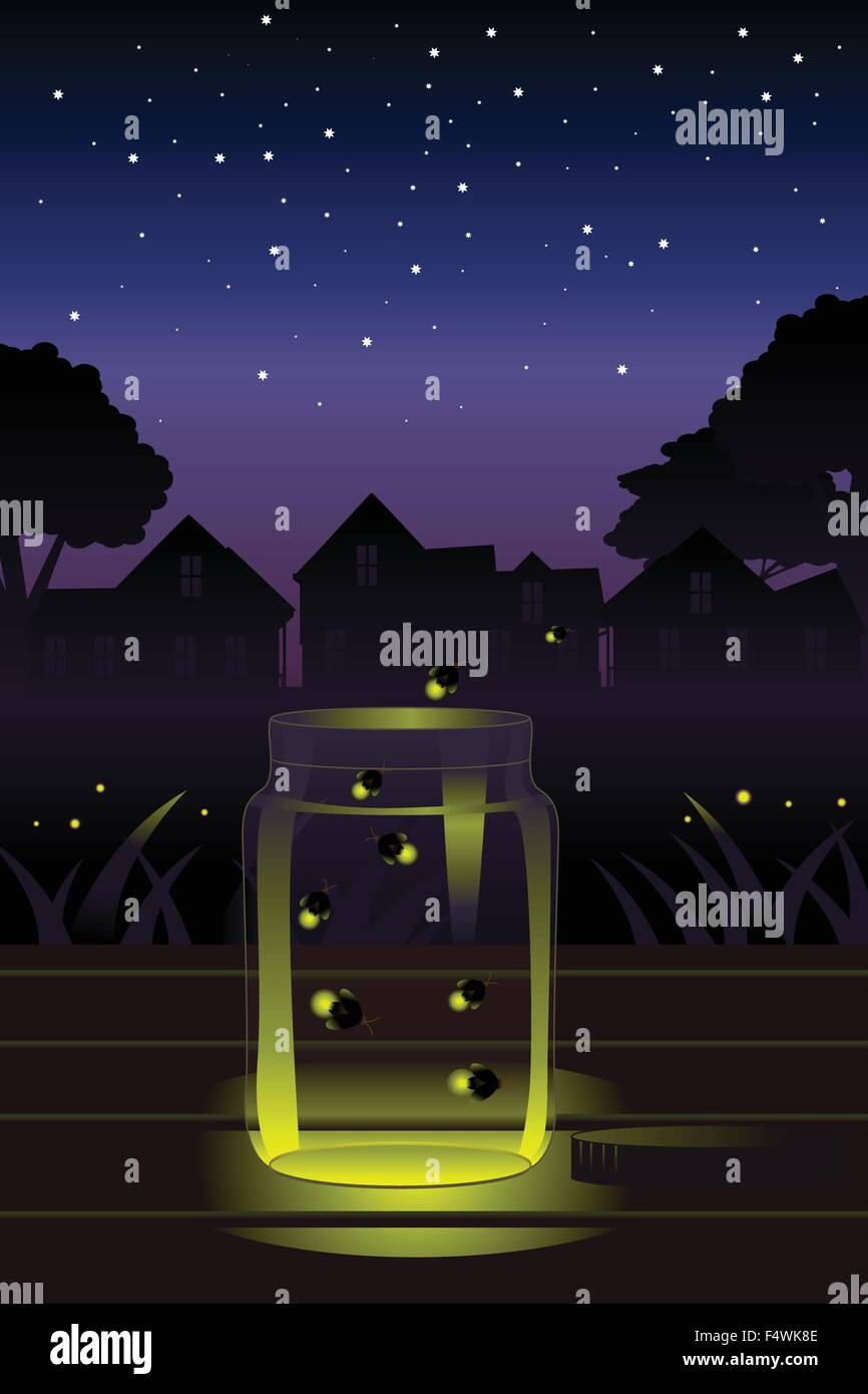 A vector illustration of fireflies escaping a glass jarStock Vector