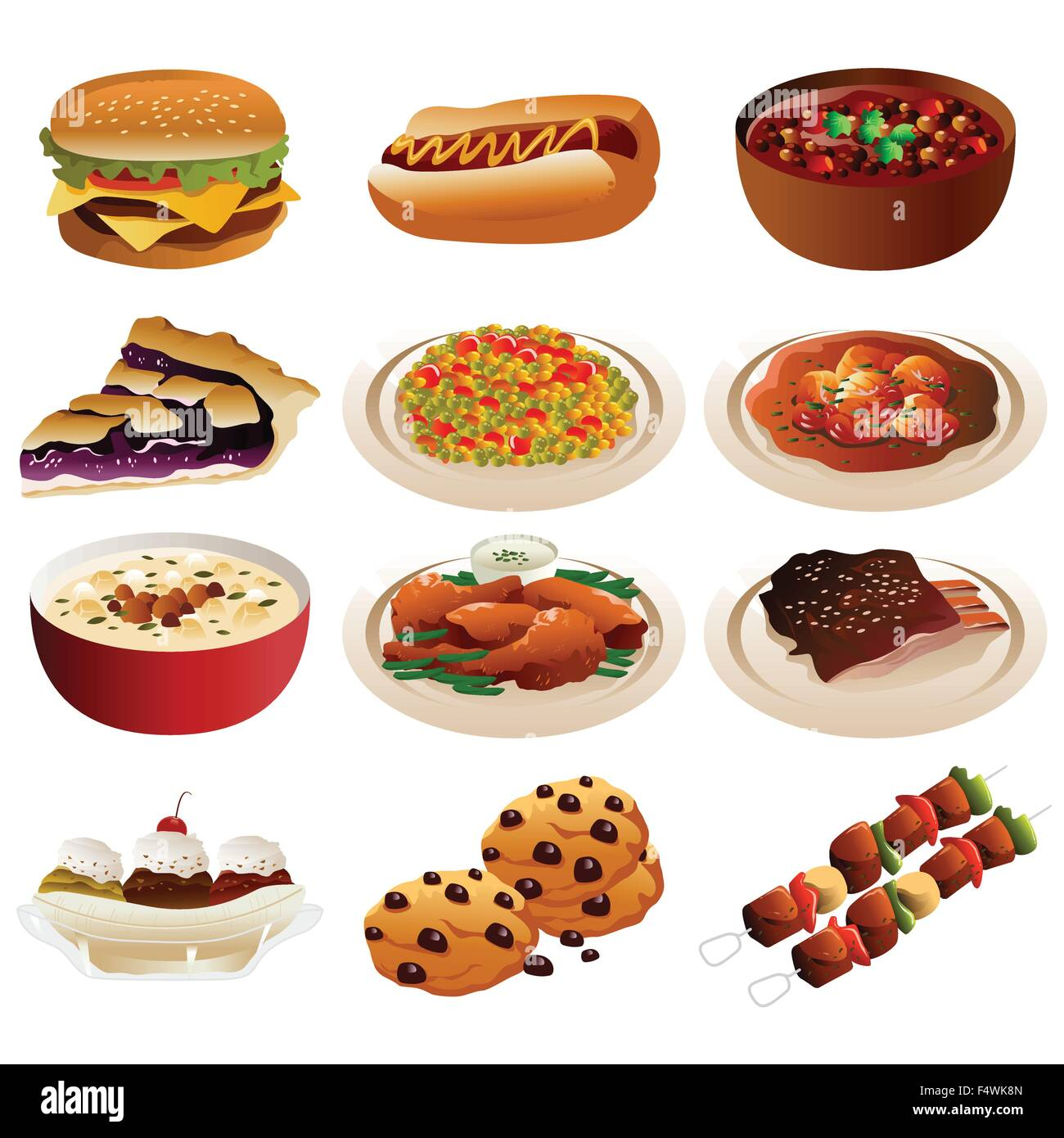 A Vector Illustration Of American Food Icons Stock Vector Art