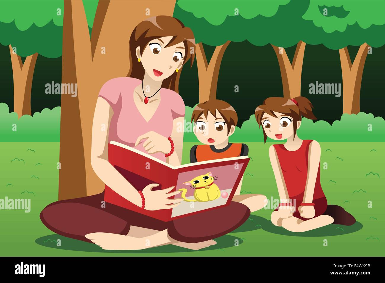 a vector illustration of teacher reading book to preschool kids in