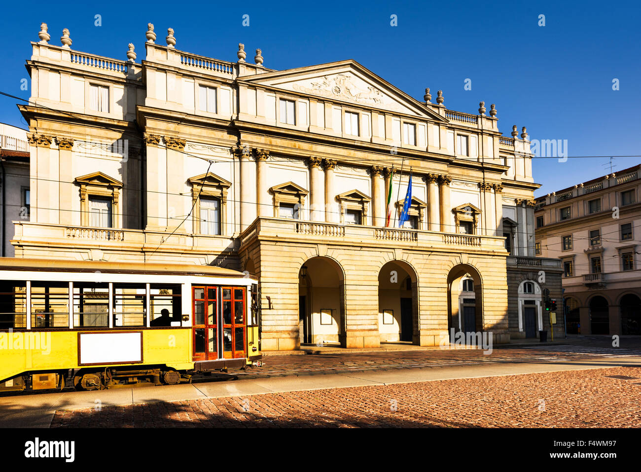 Piazza La Scala and La Scala theatre, in Milan. ITALY - Stock Image