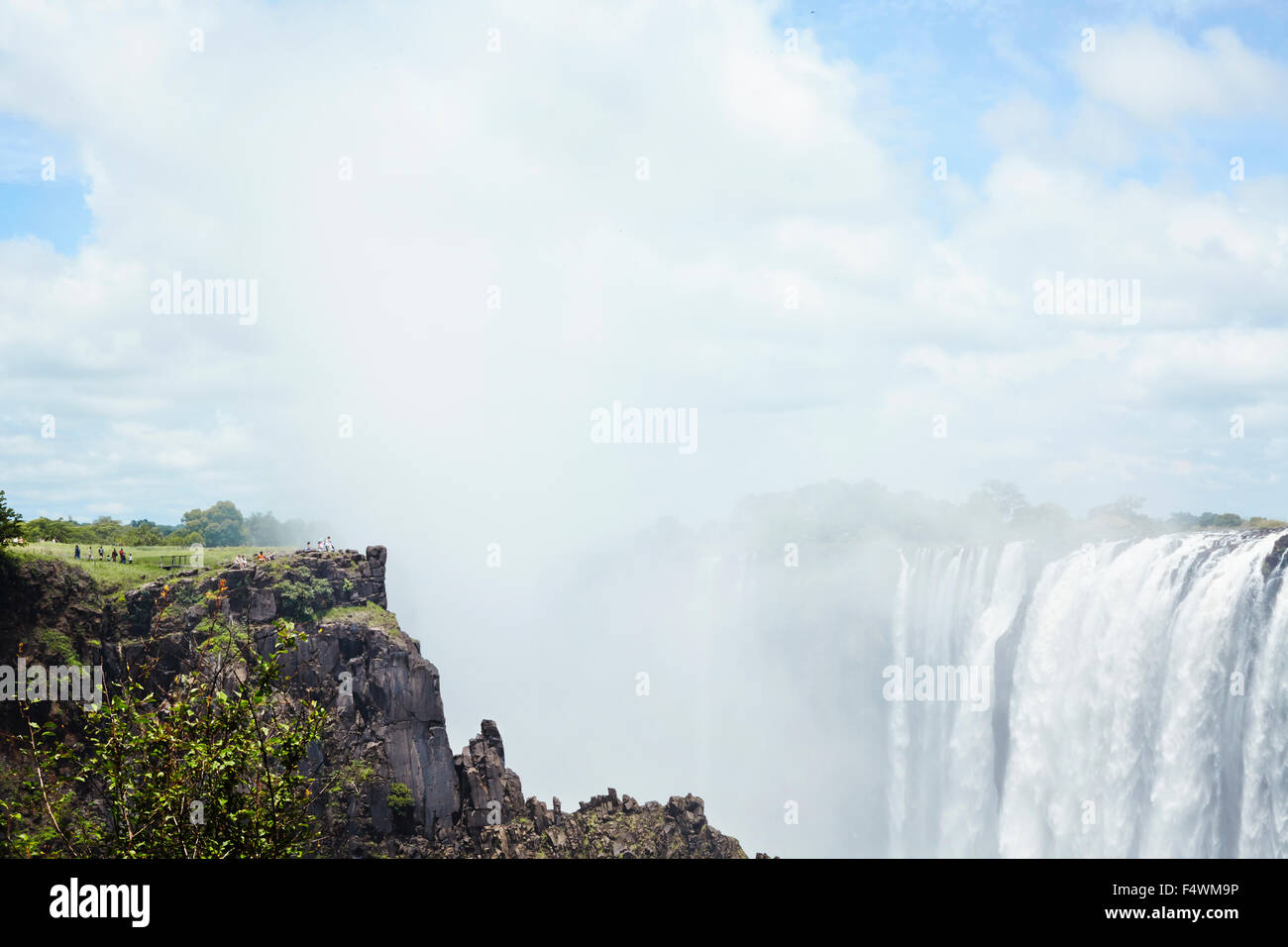 Victoria Falls during summer. Livingston reservation in Zambia - Stock Image