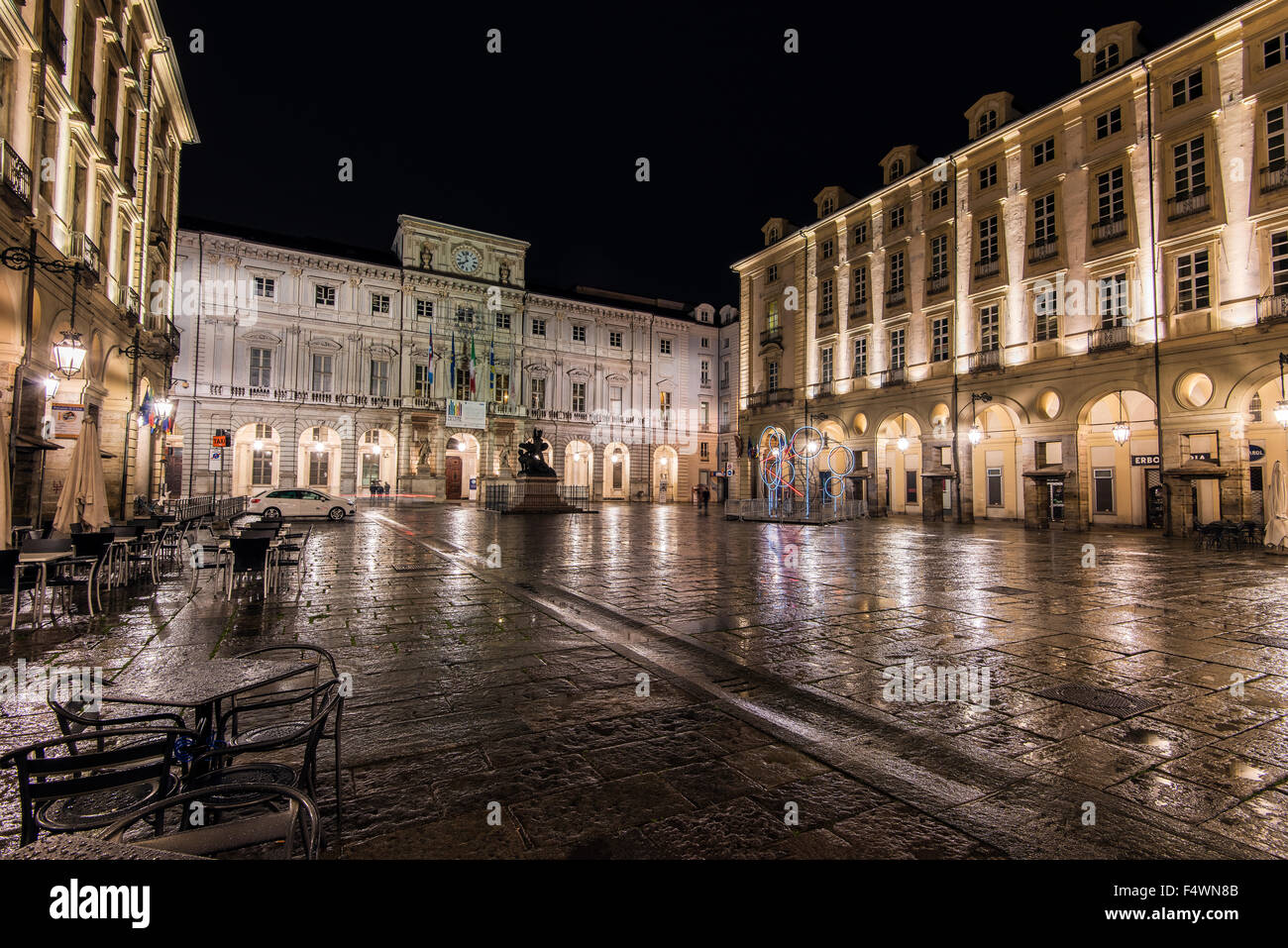 Night view of Piazza Palazzo di Città or Piazza delle Erbe with town hall, Turin, Piedmont, Italy - Stock Image
