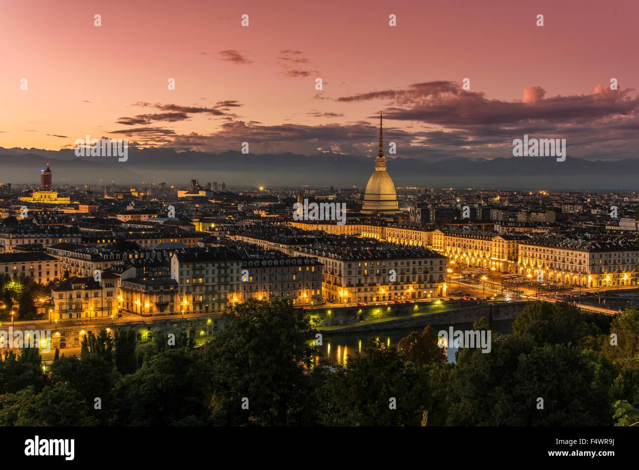 City skyline at sunset, Turin, Piedmont, Italy - Stock Image